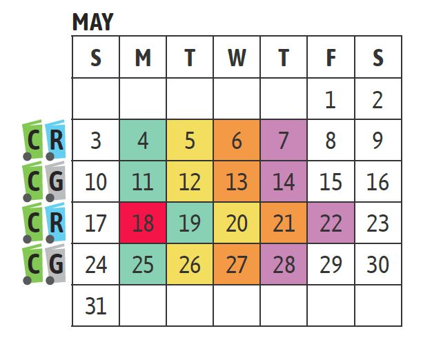 May Cart Collection Schedule